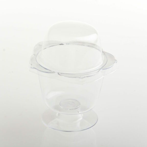 (10) ACRYLIC DESSERT FLOWER CUP WITH DOME LID 112ml