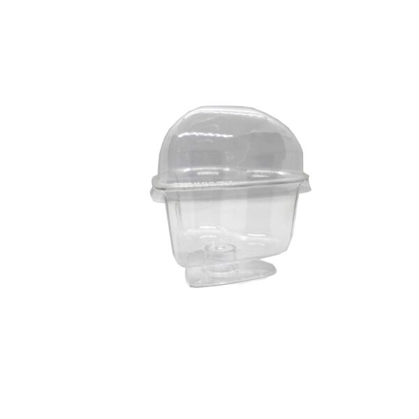 (10) ACRYLIC DESSERT CUP HEART STAND W/LID 7.5×5.3cm