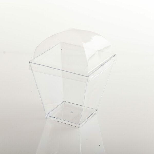(10) ACRYLIC DESSERT CUP SQ TAPED TOP 7x7x7 W/DOME LID 150ml