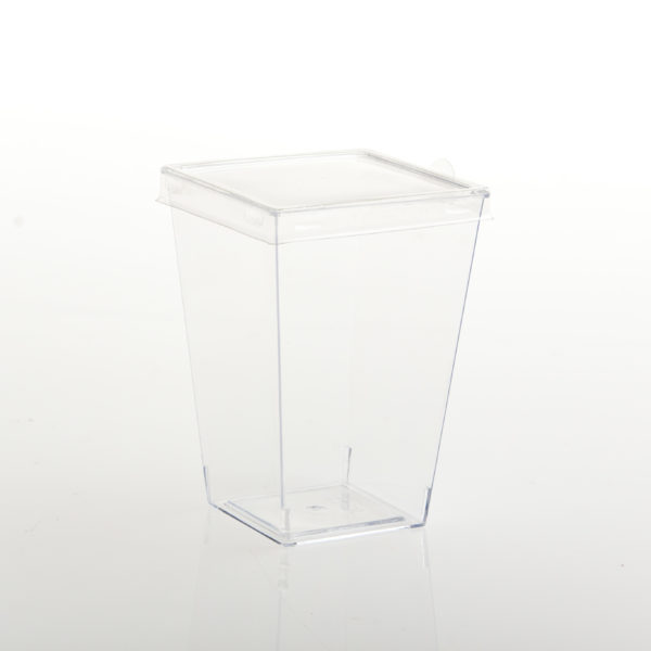 (10) ACRYLIC DESSERT CUP SQUARE 55x55x80 WITH FLAT LID 150ml