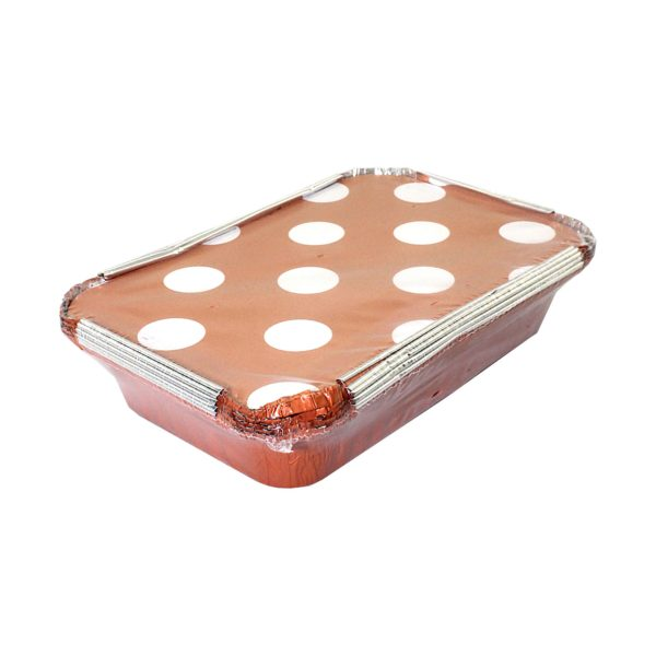 5PC ALUMINUM  TRAY W/LID 210*140*43MM  ORANGE POLKA DOTS LID