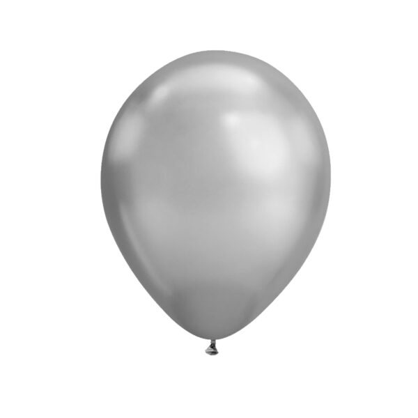 (10) METALLIC SILVER 35cm BALLOONS (HELIUM/AIR)