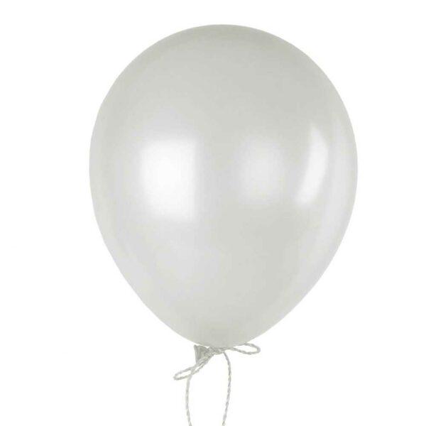 (10) METALLIC WHITE 35cm BALLOONS (HELIUM/AIR)