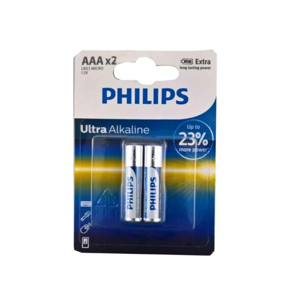 PACK (2) PHILIPS BATTERY AAA 1.5V LR03 MICRO