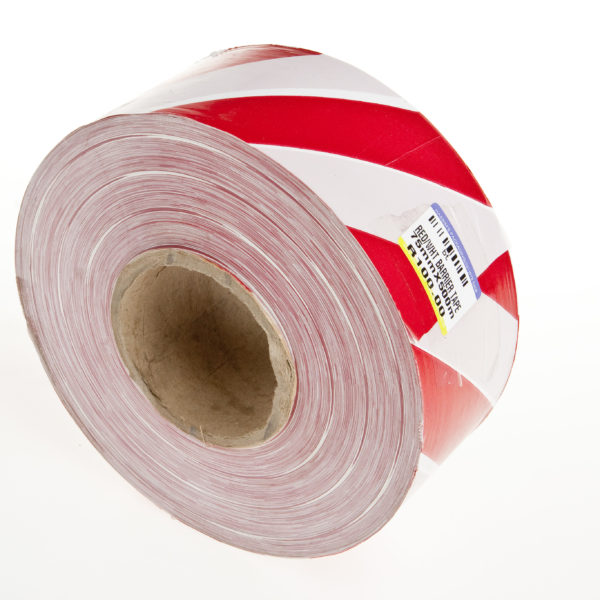 BARRIER TAPE RED & WHITE 75mm x 50mic 500mts