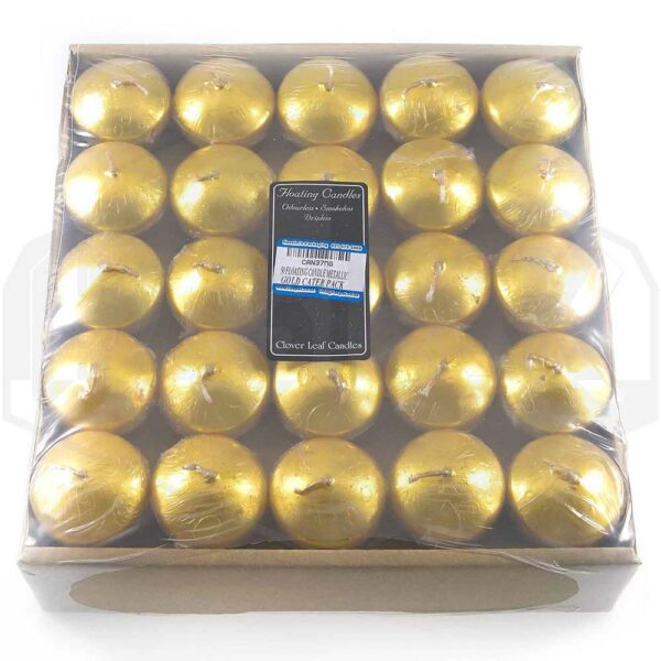 50 FLOATING CANDLE METALLIC GOLD CATER PACK