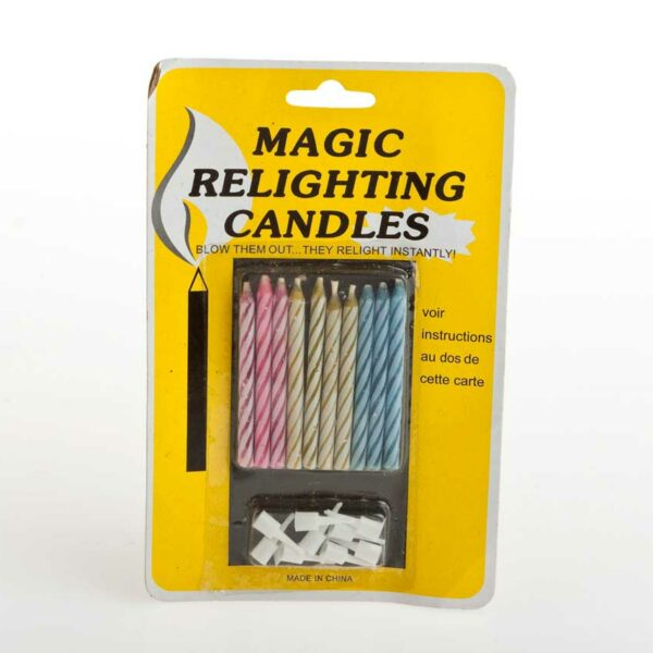 10 MAGIC RELIGHT CANDLES+HOLDERS