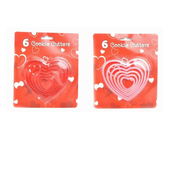 6 PIECE COOKIE CUTTERS HEART SHAPED