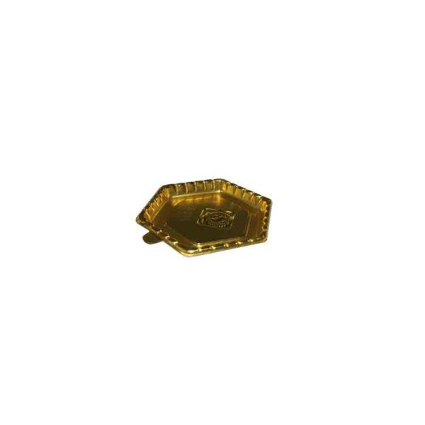 100's CAKE/PASTRY BASE  HEXAGON SHAPE 7.75cm GOLD