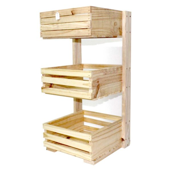 EACH 3 TIER WOODEN CRATE STD SQUARE 350x350x140mm (800h)