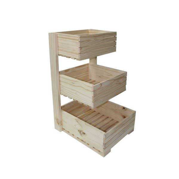 EACH 3 TIER WOODEN CRATE SQUARE STEPPED