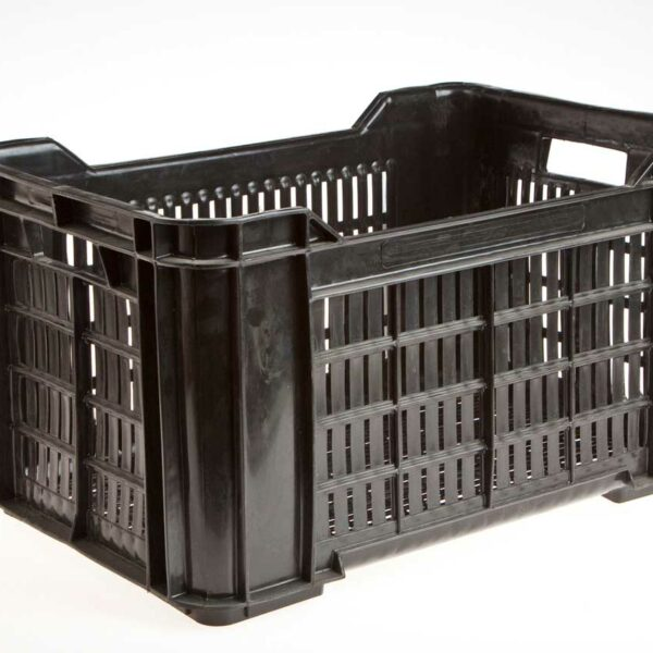 BLACK PLASTIC CRATES FOR PLATES RECT 530x350x290 (+/- 30pla)