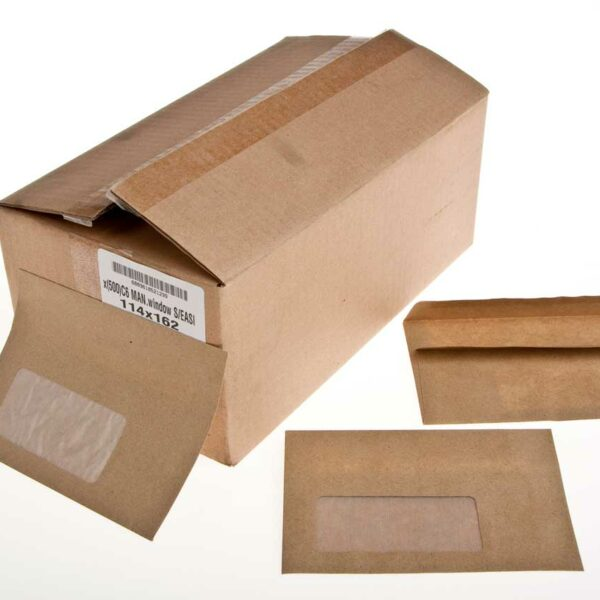 Box (500) 114×162 C6 Manilla Envelopes Window S/Eas