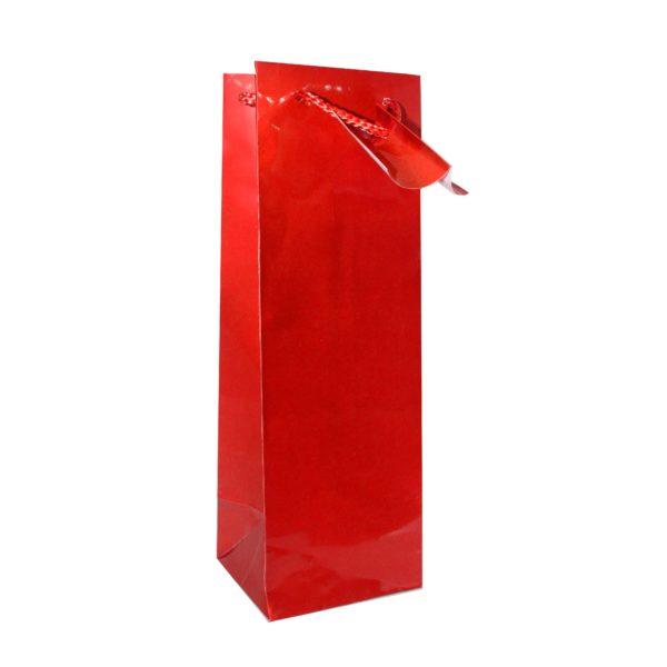 PK(12) BOTTLE BAG RED 10+9x33cm