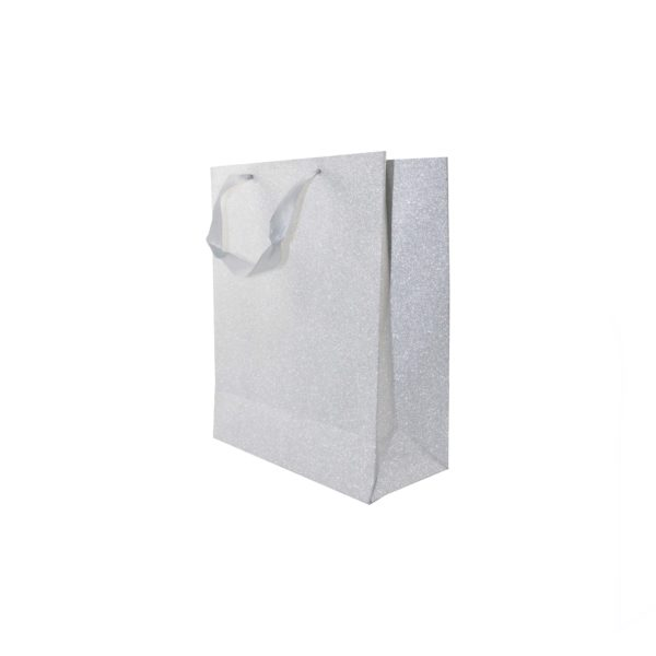 PK(12) GIFT BAG 16+8x20cm MET SILVER WITH SATIN HANDLE