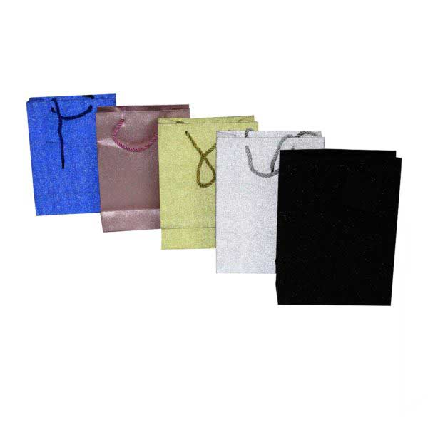 PK(12) GIFT BAG 18+8x23cm METTALIC ASSORTED COLOURS