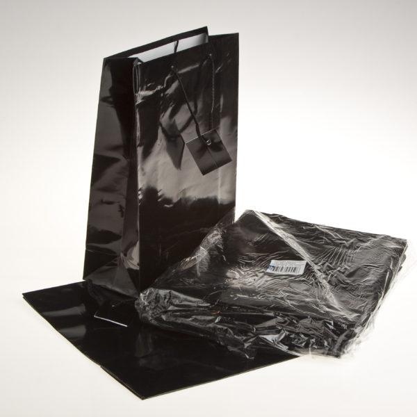PK(20) GIFT BAGS 26+9X32cm BLACK