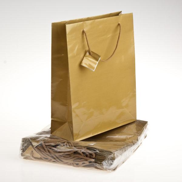 xGIFT BAG PLAIN 260+120x320mm GOLD