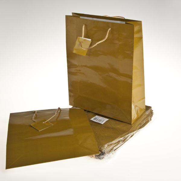PK(20) GIFT BAGS 26+9X32cm GOLD