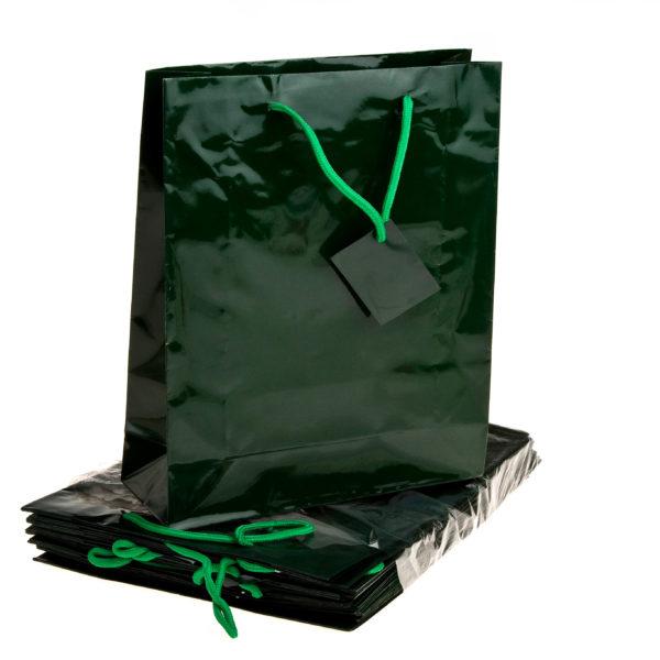 X EACH GIFT BAGS 26+9X32cm HUNT GREEN