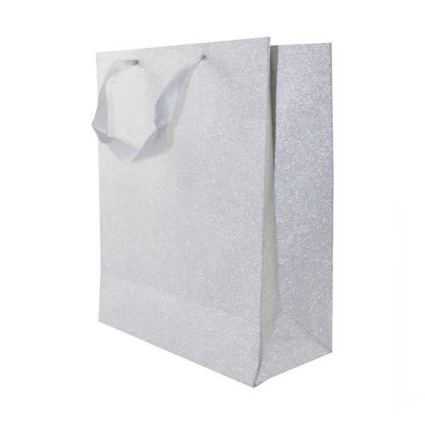 each GIFT BAG 26+12x32cm MET SILVER WITH SATIN HANDLE