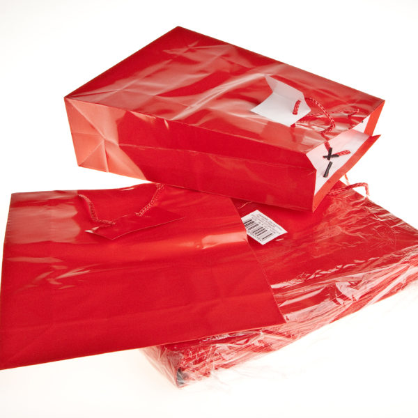 PK(20) GIFT BAGS 26+9X32cm RED