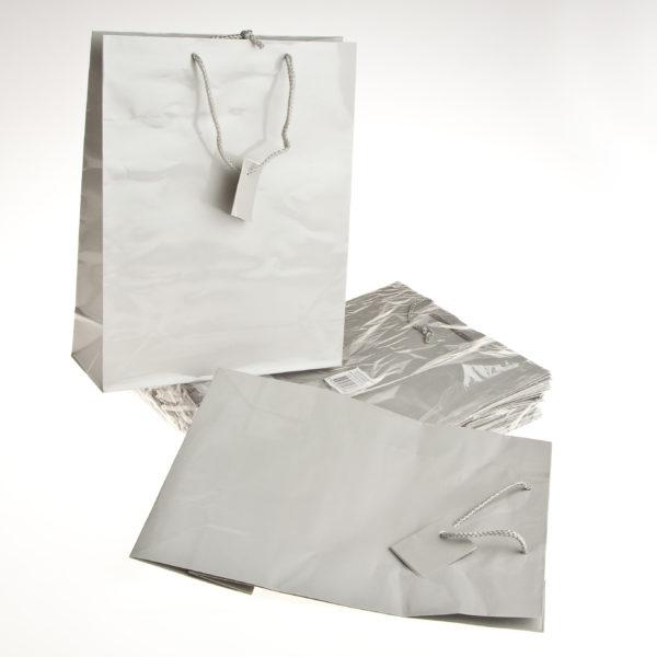 PK(20) GIFT BAGS 26+9X32cm SILVER