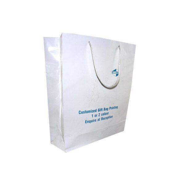 GIFT BAG 26+9X32cm WHITE