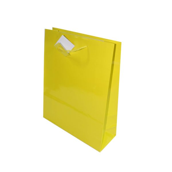 GIFT BAG 26+9X32cm YELLOW