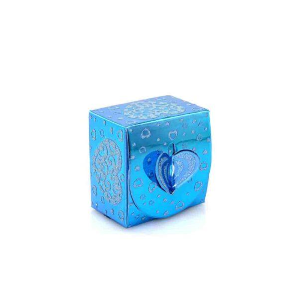 PACK (12) SWEET BOX BLUE 6x6x4cm (SJ-026G) ROUND TOP