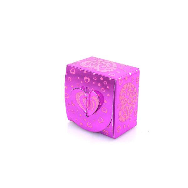 PACK (12) SWEET BOX CERISE 6x6x4cm (SJ-026G) ROUND TOP