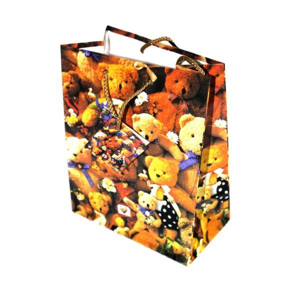 GIFT BAG TEDDY BAG BROWN 17.5w x 22h