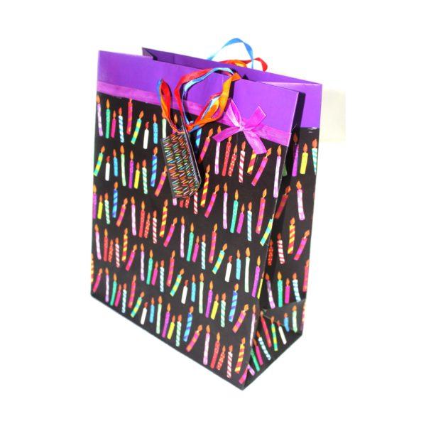 GIFT BAG BIRTHDAY BLACK CANDLE MALE 26w x32h