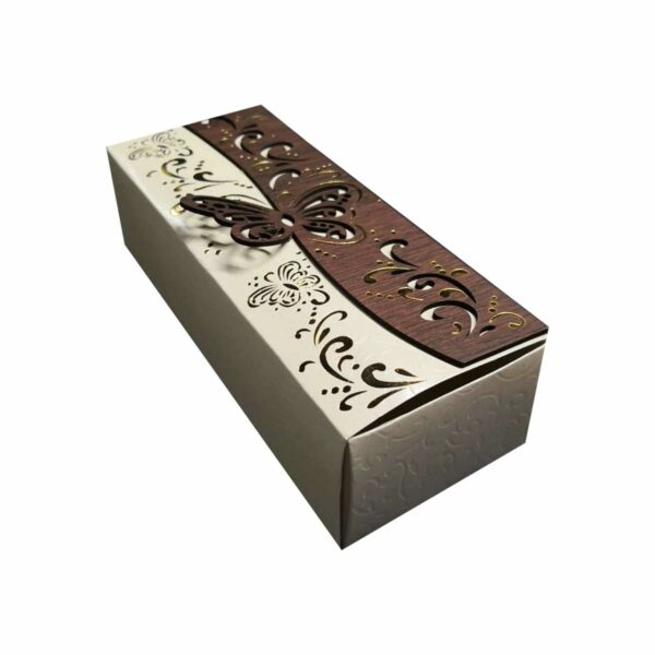 GIFT BOX RECT. BUTTERFLY CREAM 20x8cm