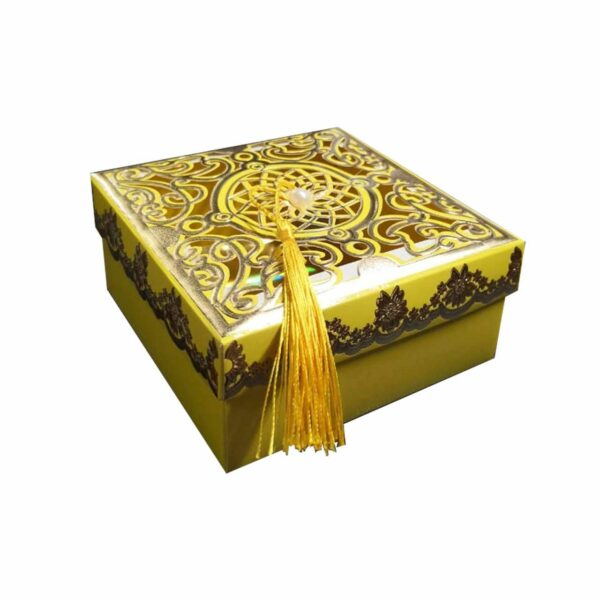GIFT BOX SQUARE WITH TASSLE GOLD & YELLOW 12.5cm