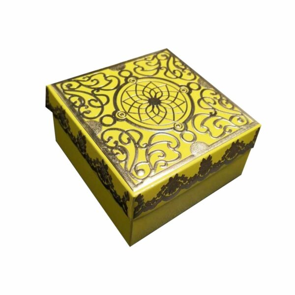 GIFT BOX SQR 12.5CM YELLOW PATTERNED