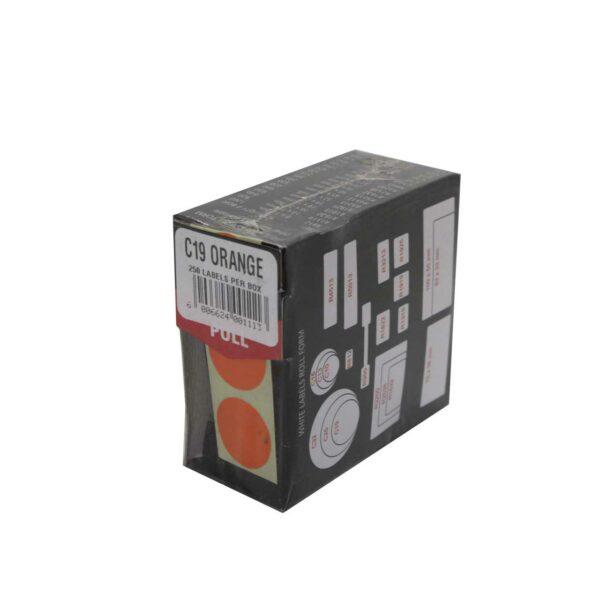 BOX (250) LABELS ORANGE C19 REDFERN