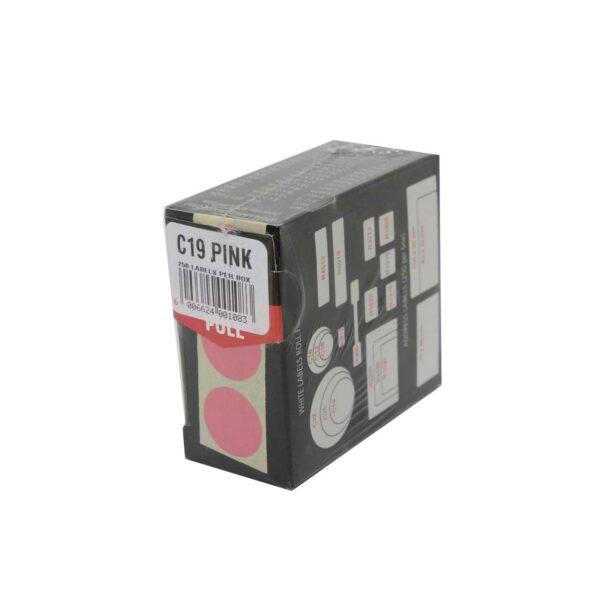 BOX (250) LABELS PINK C19 REDFERN