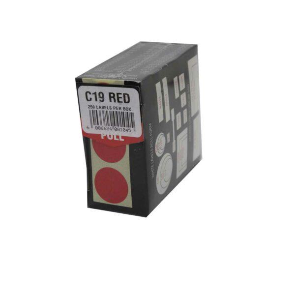 BOX (250) REDFERN LABELS ROUND C19 RED