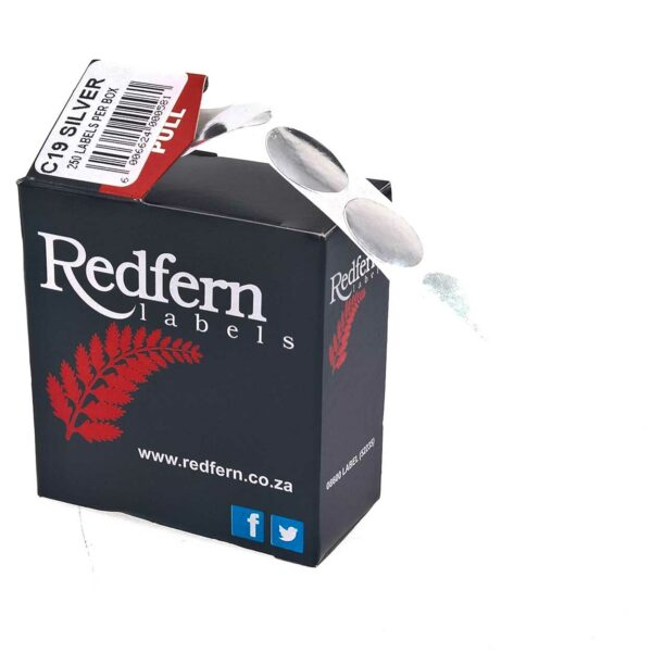 BOX (250) REDFERN LABELS ROUND C19 SILVER