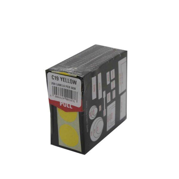 BOX (250) REDFERN LABELS ROUND C19 YELLOW