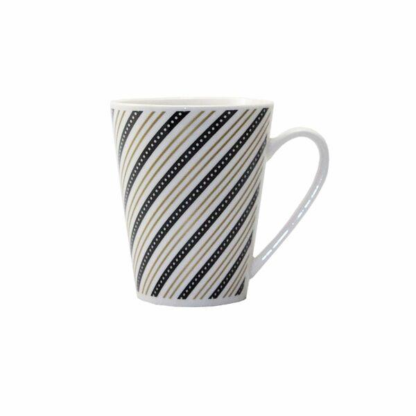 COFFEE MUG GOLD/ BLACK TWIRL LINES DEISGN 10cm l x8.5cm diam