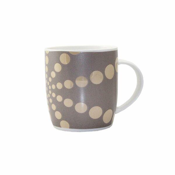 COFFEE MUG GOLD & BROWN CIRCLE DESIGN 9cm l x 9cm diam