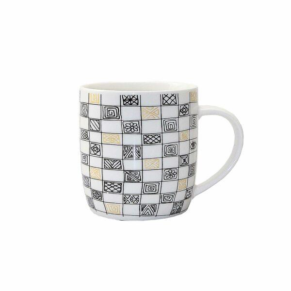 COFFEE MUG GOLD/ BLACK LINES DEISGN 9cm l x 8cm diam