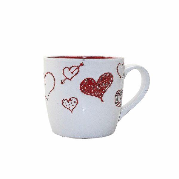 COFFEE MUG HEARTS 8.5cm h x 9cm diam