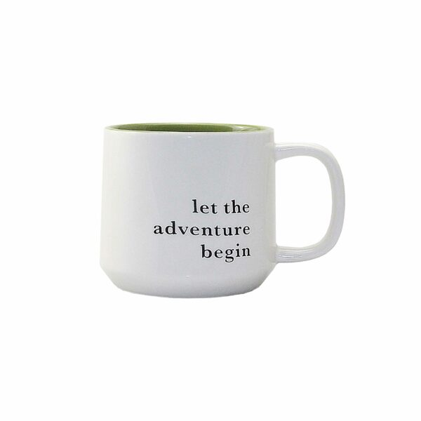COFFEE MUG LET THE ADVENTURE BEGIN 8.8cm h x 9.5cm diam