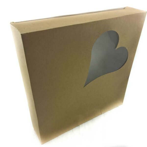 SQUARE TREATBOX HEART F/PACK  9.5×9.5×2