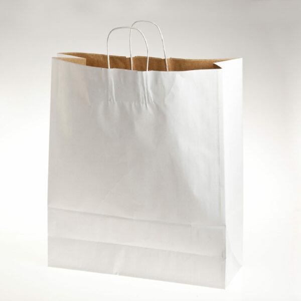 BOX (100) SUPREME CARRIERS WHITE TWIST HANDLE 45+16x50cm