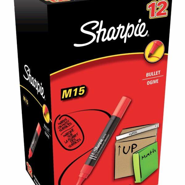 BOX (12) SHARPIE PERMANANT MARKER BULLET RED M15