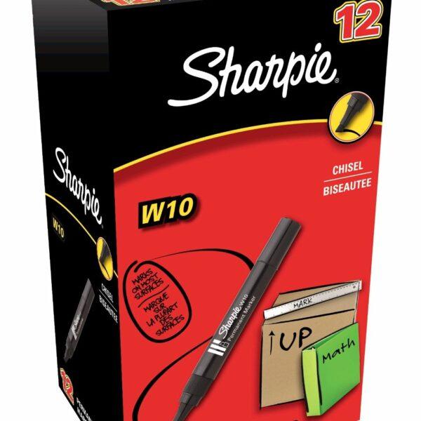BOX (12) SHARPIE PERMANENT MARKER BLACK W10 CHISEL